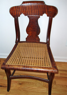 Very old cane seat maple dining chairs in two styles - probally date from late 1700's