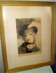 "This beautifully framed ""Elvira"" circe 1930 is numbered 21 of 125 and signed by Marie Laurencien."