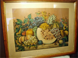 "Antique wood framed lithograph print ""Garden Orchard and Vine"" by Currier & Ives features gorgeous detail and colors. 24""Wx18"" Circe 1870"