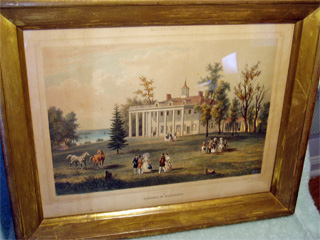 "Deroy ""Washington Residence"" (Mount Vernon) Lithograph measures 12 1/2"" Wide by 9 1/2"" High in a beautiful 17""x14"" antique frame. Circe 1790."